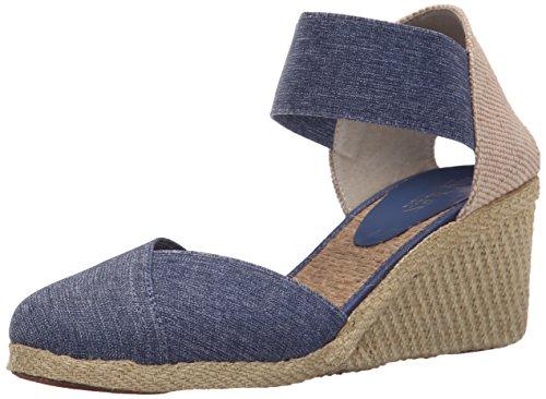 Lauren Ralph Lauren Women's Charla Espadrille Wedge Sandal, Blue Denim Elastic, 7.5 B US Footwear Womens Jeans