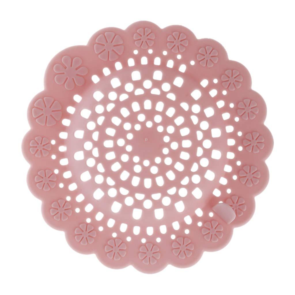 A0127 Filtrer Attrape-Cheveux Filtre d/évier /Évier de Cuisine Baignoire de Salle de Bain Passoire d/égout Filtre de Prise de Terre Rond en Silicone Rose