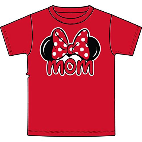 Disney Women's Minnie Mouse Mom Fan T Shirt (Large (12-14), Red)