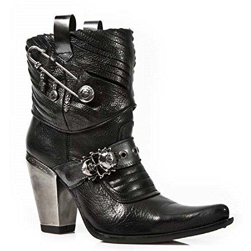 67b5b82dcbd nuevo New Rock - Botas de cuero para mujer negro negro ...