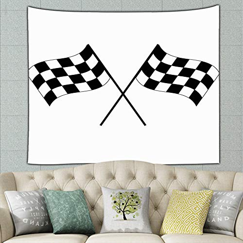 crossed black white checkered flags parks outdoor flag signs symbols Tapestry Wall Tapestry Bohemian Wall Hanging Tapestries Wall Blanket Wall Art Wall Decor Beach Tapestry Tapestry Wall Decor 50ʺ ×