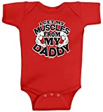 Threadrock Baby Boys' I Get My Muscles from Daddy Infant Bodysuit 6M Red