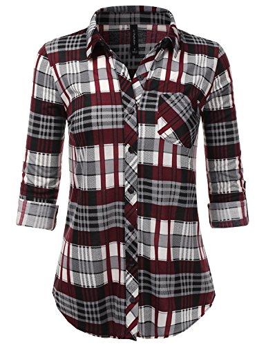 JJ Perfection Womens Long Sleeve Collared Button Down Plaid Flannel Shirt REDGREY S