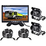 Vehicle Backup Camera and Monitor Kit,2 x IR Night Vision Reverse Camera 4 Pin + 7 inch Car Rear View Monitor Parking Assistance System with 15m Cable For RV Truck Trailer Bus Camper Motorhome