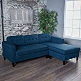 Windsor Two Piece Sectional Sofa Mid Century Danish Scandinavian Design (Navy Blue)