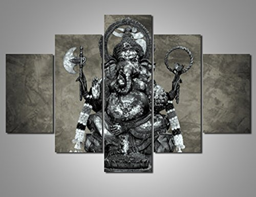 5 Panel Canvas Wall Art Pictures for Living Room Ganesh Artwork Induism Modern Paintings Thailand Home Decor for Bedroom Framed Giclee Posters and Prints Stretched Ready to Hang(60''Wx40''H)