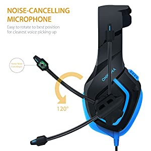 Gaming Headset PC, MillSO K1 50MM Stereo Over-Ear Headphone with Flexible Mic, Bass Surround, LED Light and Volume Control for PC PS4 Xbox one Laptop Mac--Blue