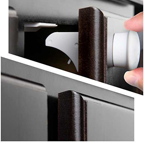 jambini magnetic cabinet locks child safety locks baby proofing cabinets system 4 locks 1. Black Bedroom Furniture Sets. Home Design Ideas