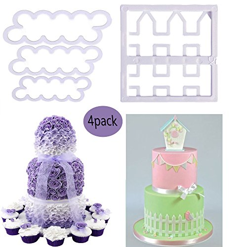 Pizza Cookie Cake - The Easiest Rose Ever Cutter and Cutter Picket Fence Cake Icing Fondant Cutting Tool Set,Fence Cookie Cutter Mould, Cup Cake Decorating Gumpaste Fondant Mould,Cake House Garden Decoration