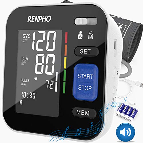 RENPHO Blood Pressure Monitor Upper Arm for Home Use with Speaker, Accurate Automatic BP Machine with Relaxing Music, Extra Large Cuff, Digital Large Display, 2-Users, 240 Recordings, FDA Approved