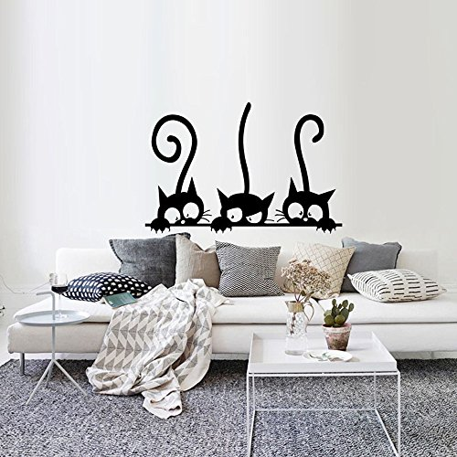Dazlinea Wallpaper Three Cats Animal Room Wall Sticker Mural Decor Decal Removable (Black)