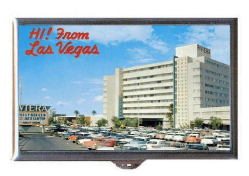 Las Vegas Riviera Hotel 1950s Retro Postcard Guitar Pick or Pill Box USA Made