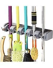 Vicloon Bezemhouder, bezem mophouder met 5 haken en 6 snelspanners, wandhouder voor keuken, badkamer, tuin, multifunctioneel