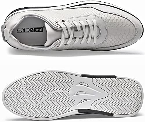 51IoGjGpPoS. AC GOLDMoral Air Cushion Increasing Shoes for Men White Sneakers That Make You 8CM / 3.15 Inches Taller    Height Increase: 8CM / 3.15 InchesUpper Material: Calfskin LeatherLining Material: Genuine LeatherColor Selection: WhiteSeason: Spring,Summer,Autumn,Winter