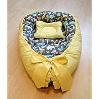 Baby Nest Baby Bed Nursery Baby Gift Cotton Pillow Yellow Grey Crib