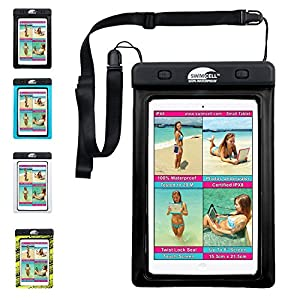 """#1 Waterproof iPad Case For iPad MINI. Kindle, Camera and Other Dry Valuables. 5.75"""" x 8.2"""". For up to 9"""" Screen. Pouch. Tested to 20m. Easy to Use. 2 Tablet and phone sizes available."""