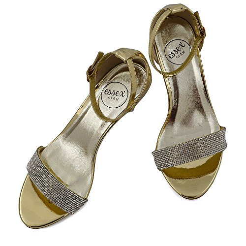Strap Ladies Party GLAM Sandals Ankle Shoes Stiletto Heel Metallic Low Diamante Gold ESSEX Peeptoe Womens UqPpCwEx8