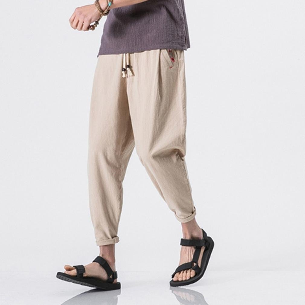 c98098d6c Allywit Mens Casual Baggy Cotton Linen Pocket Lounge Harem Pants Beach Long Shorts  Big and Tall