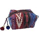 Lovestitch Embroidered Loaf Makeup Bag Southwest Design Blue, Red