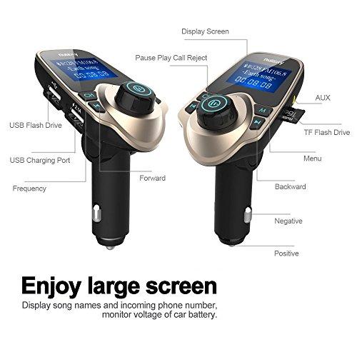 Transmetteur FM, Nulaxy Bluetooth Transmetteur FM Mains Libres Kit de Voiture Radio Adaptateur avec 3.5mm Aux / 2 Ports USB / 1,44 pouces écran, Soutenir carte Micro SD et USB Disk (Or) 50%OFF