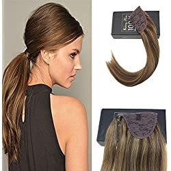 Sunny 14inch Ponytail Hair Extensions Human Hair Color Dark Brown Mixed Caramel Blonde Clip in Ponytail Hair Extensions 80g