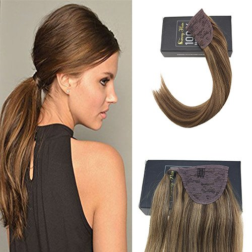 Sunny 18inch 80g Long Ponytail Hair Extension Piano Color Dark Brown with Caramel Blonde Clip in Ponytail Wrap around Human Hair Extension