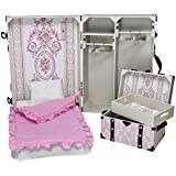 18 Inch Doll Storage Suitcase Trunk With Murphy Bed, 3 Piece Bedding, Steamer Trunk, 4 Hangers. Fits American Girl Doll