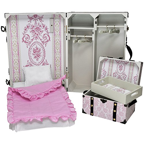18 Inch Doll Storage Suitcase Trunk With Murphy Bed, 3 Piece Bedding,  Steamer Trunk