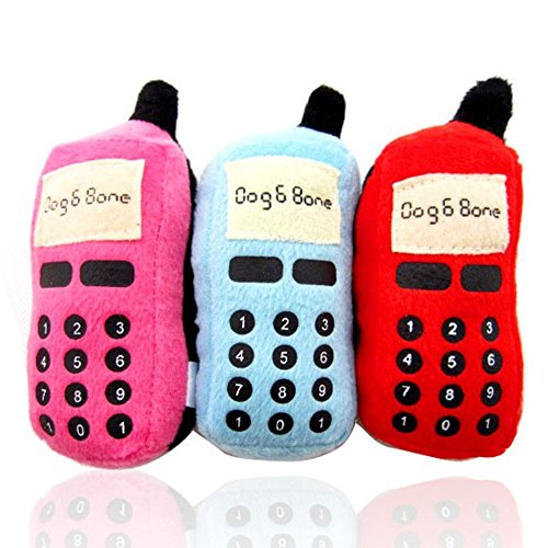 New Puppy Dog Pet Toys For Small to Medium Dogs (Set of 3) - Chewing Soft Mobile Phone Plush Sound Squeaky For Dogs - Keeps Dental Care - Hounds (Love Bite Vampire Costume)
