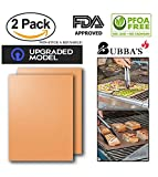 Copper Grill Mats:(As Seen On Tv) 100% non-stick/Set Of 2/BBQ&Baking Mats/Easy Use&Cleans Like New/Lifetime Reusable/Works On All Types Of Grills(FDA Approved&PFOA Free)Perfect For Outdoor&Indoor use!