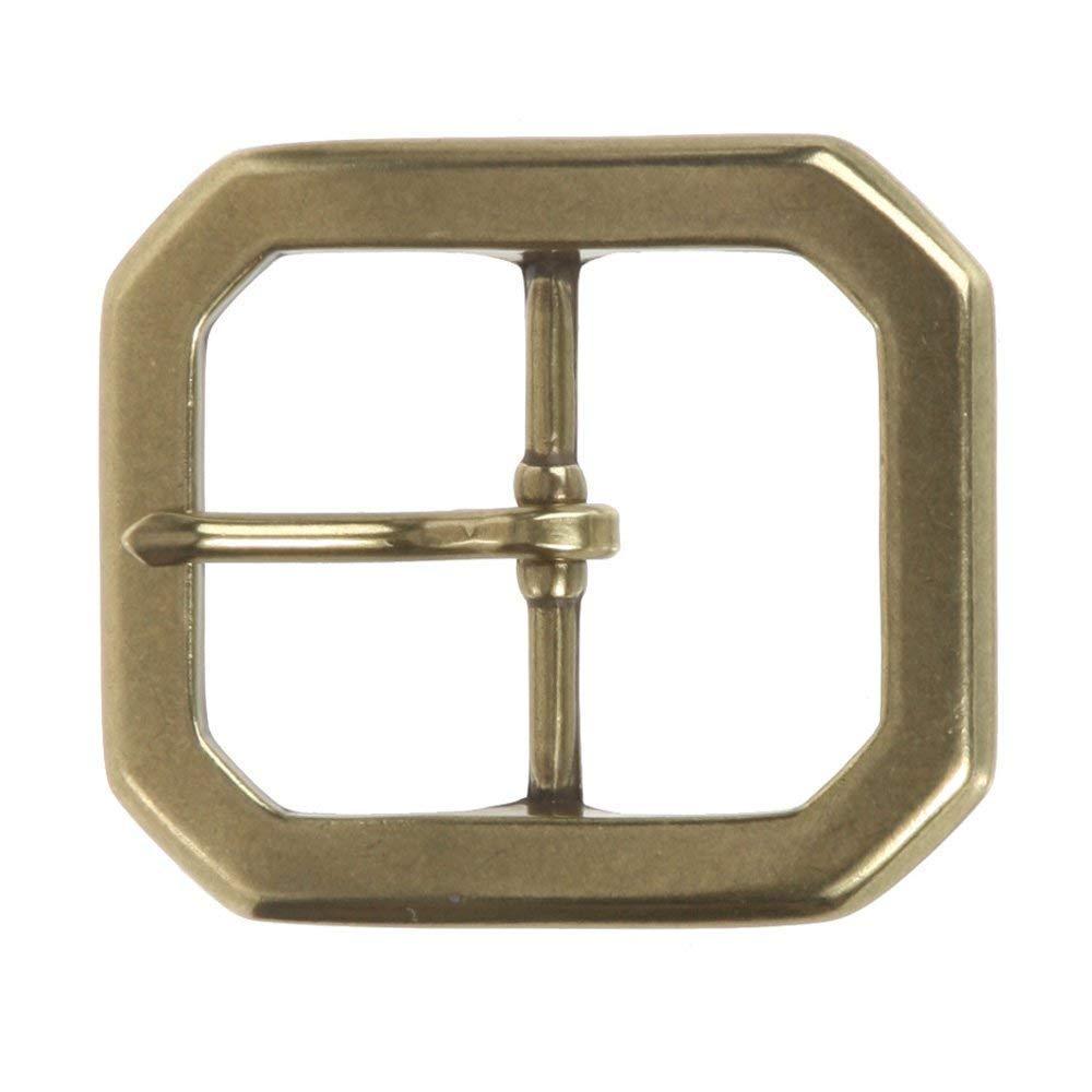 MONIQUE Men Nickel Free Center Bar Single Prong Hexagon 1.5 Wide Belt Buckle