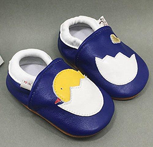 Goldore Baby 100% cuero auténtico con suela blanda recién nacido del niño infantil zapatos antideslizantes Pre-walker 0-2 años polluelo de la marina de guerra