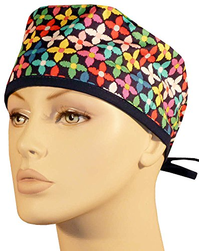 Scrub Hat Poppy - Mens and Womens Scrub Cap - Tossed Bright Color Poppies