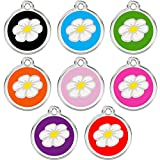 Stainless Steel with Enamel | Dog Tags Pet Tags Cat Tags | Designers Round | Many Shapes to Choose From | by CNATTAGS® (LIFE TIME WARRANTY) (Round Daisy)