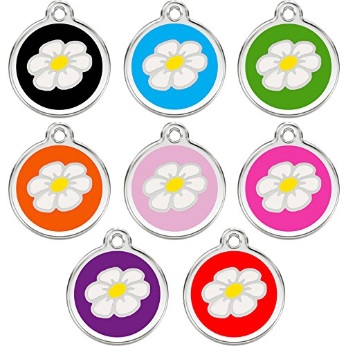 CNATTAGS Stainless Steel with Enamel Pet ID Tags Designers Round Daisy