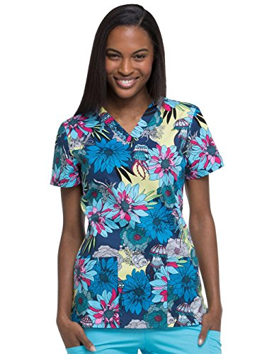 Dickies EDS Signature by Women's V-Neck Floral Print Scrub Top Small Prin