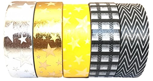 Washi Tape by L'artisant - Premium Quality Set of 5 Beautiful Rolls. (Honey - Holidays In January Fun