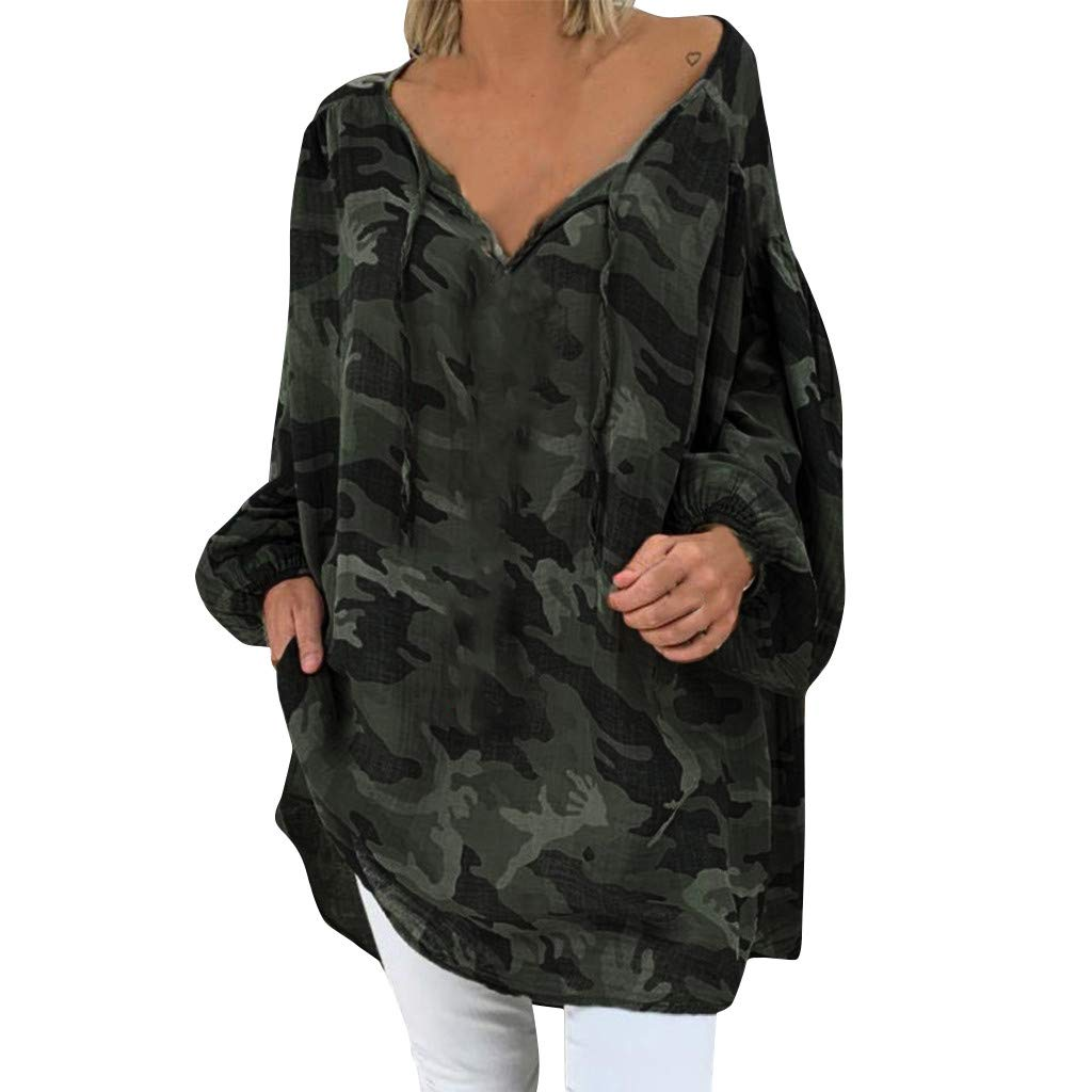 ANJUNIE Women's Oversize Shirt Loose Solid Long Sleeve V-Neck Pullover Casual Tops(Camouflage,L)