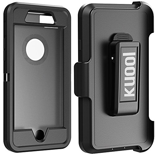 iPhone 7 Plus Case, [Shockproof] [Drop Protection] [Heavy Duty] Tough Rugged Hybrid Hard Shell Cover Case with Belt-Clip for Apple iPhone 7 Plus [5.5 inch]-Black