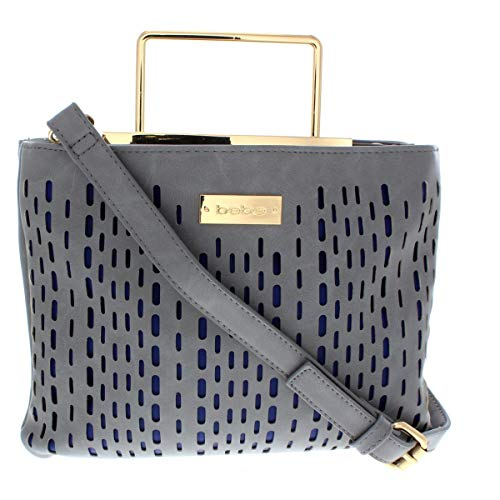 Bebe Womens Marisa Faux Leather Perforated Crossbody Handbag Gray Small ()