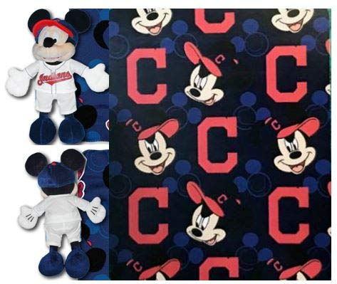 (The Northwest Company MLB Cleveland Indians Pitch Crazy Co Disney's Mickey Hugger and Fleece Throw Set)