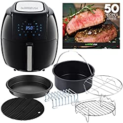 GoWISE USA 5.8-Quarts 8-in-1 Air Fryer XL with 6-PC Accessory Set + 50 Recipes for Your Air Fryer Book (Black)