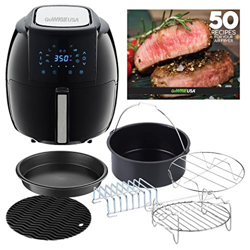 GoWISE USA 5.8-Quarts 8-in-1 Digital Air Fryer XL with 6-Piece Air Fryer Accessory Kit + 50 Recipes for Your Air Fryer Cookbook (Black)