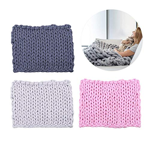 n Hand-woven Blanket Air-conditioning Sofa Super Thick Line Woven Large Carpet Diy Hot Manual Core Round Cloth Coarse Knitting Wool Hand-knitted Knit Blankets Throws Cotton ()