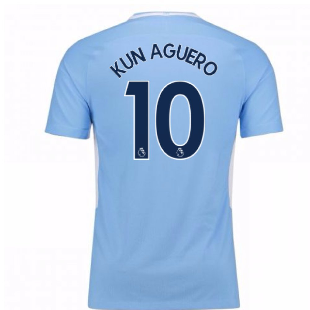 2017-18 Man City Home Football Soccer T-Shirt Trikot - Kids (Sergio Aguero 10)