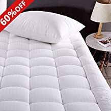 Merous King Size Cotton Mattress Pad Down Alternative Mattress Cover - Hypoallergenic Fitted Quilted Mattress Topper - Stretches up to 18 Inches Deep