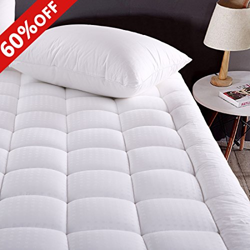 MEROUS Full Size Cotton Mattress Pad Down Alternative Mattress Cover - Hypoallergenic Fitted Quilted Mattress Topper - Stretches up to 18 Inches Deep