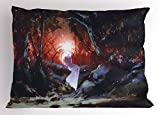 Lunarable Fantasy Pillow Sham, Surreal Ghost Girl in an Enchanted Forest in Dark Woods Fairy Tale Display Print, Decorative Standard Queen Size Printed Pillowcase, 30 X 20 inches, Multicolor