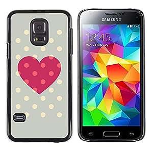 TopCaseStore / la caja del caucho duro de la cubierta de protección de la piel - Polka Dot Grey Pink Love Centers - Samsung Galaxy S5 Mini, SM-G800, NOT S5 REGULAR!