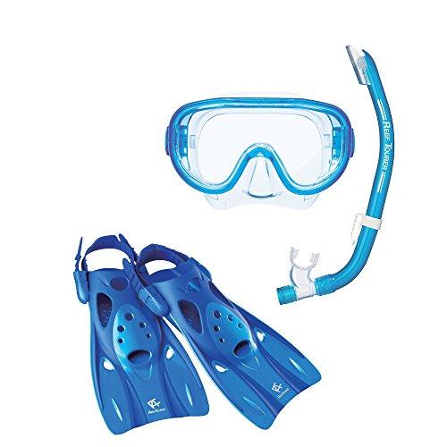Fins Mask Snorkel Boots (ReefTourer Adult Single-Window Mask, Snorkel & Fin Traveling Set)